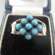 Pretty Victorian Rose Gold/Turquoise Ring w/Hearts sides  Size 7.5