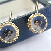 Delicate Small 14k Gold Earrings Portrait Earrings