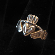 Vintage Silver Man's Irish Claddagh Ring Size 10.75