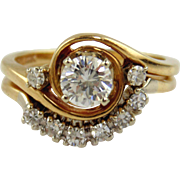 Diamond Engagement  Ring Set 14kt Two Tone Gold - Size 4