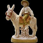 Royal Dux Porcelain Figurine - Boy on A Donkey