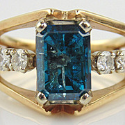 Blue Diamond Cocktail Ring 14kt Two Tone Gold