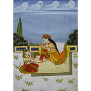 19th Century Indian / Persian Watercolor Painting of Royal Couple