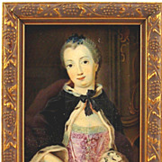 SOLD Antique Miniature Painting of An Elegant Lady - Red Tag Sale Item