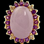 Jade, Amethyst & Diamond Ring - 14kt Yellow Gold