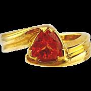 Garnet  Ring 14kt Yellow Gold , Spessartite