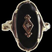 Black Onyx & Diamond Ring 10kt White Gold-Vintage