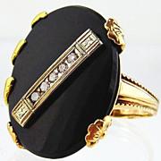 Black Onyx & Diamond Ring 9kt  Multi-tone Gold - Vintage