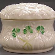 Irish Belleek  Lidded Dish- 'Shamrock' Pattern