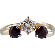 Diamond And Garnet  Ring 14kt White Gold , Size 5 1/4