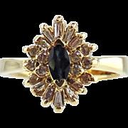 14kt Yellow Gold Ring Sapphires & Diamonds