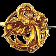 18kt Yellow Gold Vintage Ladies Brooch - Dragon Design