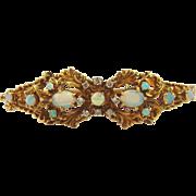 Opal & Diamond Ladies Hinged Bangle Style Bracelet-14k Yellow Gold