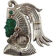 Sterling Silver Pin With Green Stone Face of Aztec Indian