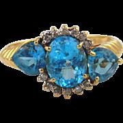 Blue Topaz & Diamond Ring 14kt Yellow Gold