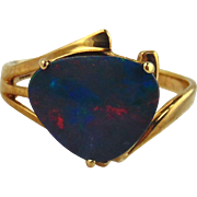 Opal Doublet Ring 10kt Yellow Gold