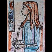 Original Woodcut by Irving Amen-Magic Flute