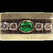 Emerald & Diamond Ring 14kt White Gold