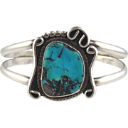 Turquoise & Silver Cuff Bracelet-Vintage Navajo