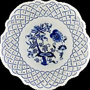 Blue Onion Reticulated Porcelain Serving Bowl-JAPAN