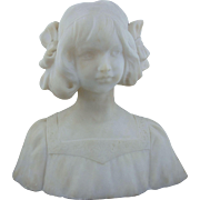 Hand Carved Marble Bust of a Young Girl-19th C