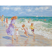 Watch That Wave, Original Oil Painting by Karin Schaefers