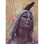 Beads & Feathers-Pocahontas, Original Acrylic Painting by Catherine Girard