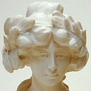 Hand Carved White Marble Bust of a Lady, Signed