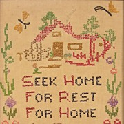 Seek Home,  American Needlework Sampler, Circa 1940s