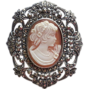 Sterling & Marcasite Shell Cameo Brooch/Pendant