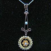 Victorian 10K Diamond & Pearl Lavalier Necklace