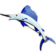 UNCAS Sterling Guilloche Enamel Sailfish Brooch