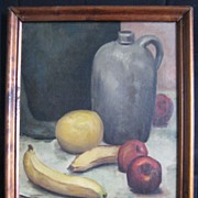 Still Life Oil Painting with Fruit and Jug