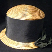 Vintage 1960s Christian Dior Natural Straw Cloche Hat