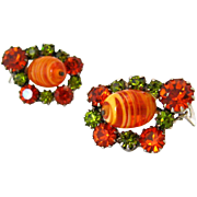 SOLD Autumn Art Glass Rhinestone Earrings | Vintage 1960s Orange Green Clip On