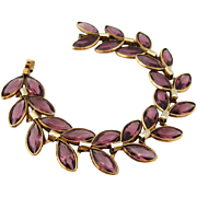 SOLD TRIFARI Glass Petal Link Bracelet | Vintage 1940s Signed Purple Rhinestone