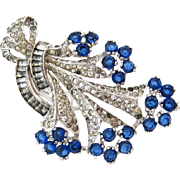 SOLD DEROSA Retro Modern Flower Rhinestone Dress Clip | Vintage 1940s Signed Sapphire Blue Cle