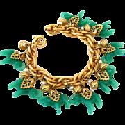 SOLD NAPIER Glass Elephant Charm Bracelet | Vintage 1960s Asian Molded Jade Green Figural Chun
