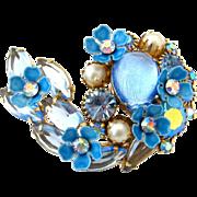 SALE PENDING KRAMER Brooch Blue Rhinestone Enamel Flower | Vintage 1950s Art Glass Aurora Bore