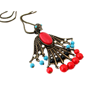PHOENIX BIRD Statement Necklace | Book Piece | Vintage Red White Blue Articulated Pendant