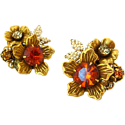 SOLD VENDOME Rhinestone Flower Earrings | Vintage 1960s Signed Autumn Brown Floral Clip On | C