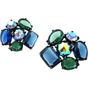 SOLD SCHIAPARELLI Blue Green Rhinestone Earrings | Huge Vintage Signed 1960s Clip On