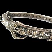 SOLD ART DECO Sterling Buckle Bracelet | Vintage 1930s Rhinestone Silver Hinged Bangle