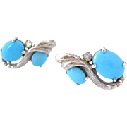 SOLD SCHIAPARELLI Blue Glass Climber Earrings Vintage Signed 1960s Rhinestone Clip On