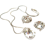 SOLD EISENBERG Clear Ice Rhinestone Pendant Necklace Earrings Set Vintage 1950s Signed Demi Pa