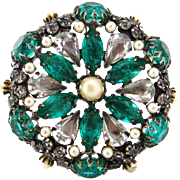 SOLD SCHREINER Green Art Glass Rhinestone Brooch | Vintage 1960s Unsigned Faux Pearl Pin