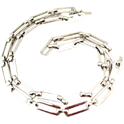 MONET 24 inch Chain Link Necklace | Vintage Signed Silver-tone