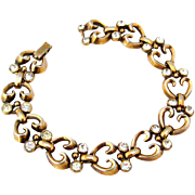 SOLD TRIFARI 1940s Rhinestone Heart Bracelet | Vintage Signed PAT PEND Alfred Philippe