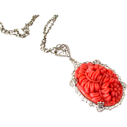SOLD Art Deco Molded Glass Flower Filigree Necklace | Vintage 1930s Coral Colored Pendant