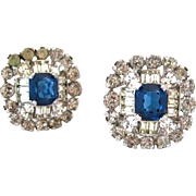 SOLD JOMAZ Sapphire Blue Rhinestone Earrings | Vintage Signed Clear Clip On Mazer Jewelry